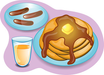 Illustration of a complete breakfast with pancakes