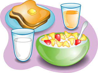 Illustration of a complete breakfast with cereal