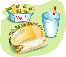 Illustration of a complete lunch with a taco