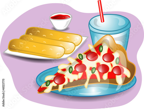 Illustration of a complete lunch with a slice of pizza