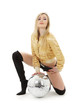 party dancer girl in golden jacket with disco ball
