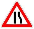 Panneau de Signalisation (Chaussee retrecie a droite - A3A)