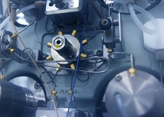 Close-up of an HPLC instrument pump