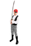Full length boy wearing  pirate costume and holding sword.