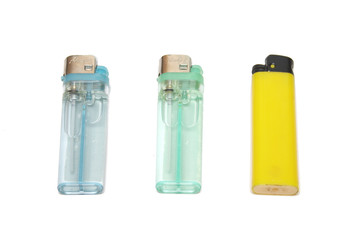 three lighters isolated on the white ground
