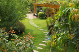 A stone walkway winding its way through a tranquil garden poster