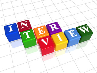 3d colour boxes with text - interview, word