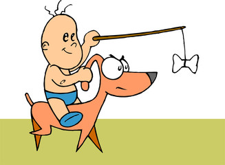 Baby riding on dog holding stick with bone