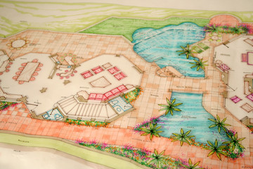 colored architectural plans for home and landscaping