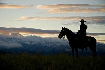 Cowboy silhouette against dawn sky