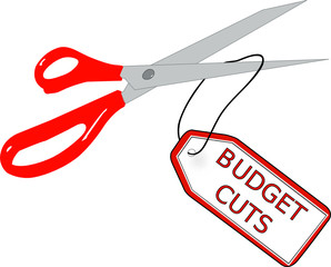 scissors cutting off tag that says budget cuts - vector