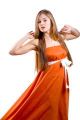Nice lady in orange dress