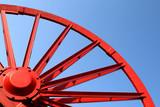 Vintage mine shaft pulley wheel. Industrial detail. poster