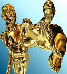 Mann mit goldener Hand