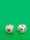Two gambling dices on green background poster