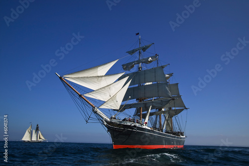 Tall Sailing Ship at Sea under full sail