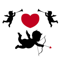 Silhouette cupid and musician angels