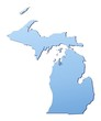 Michigan(USA) map filled with light blue gradient