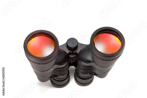 black binoculars, isolated on white background