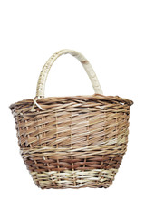Wicker basket on white background