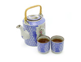 Chinese prosperity tea set on white background poster