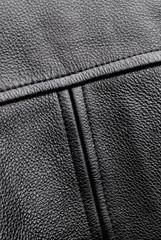Back detail of black leahter jacket