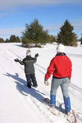 Adult and child snowshoeing across a wintry landscape.
