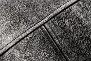 Back detail of black leather jacket