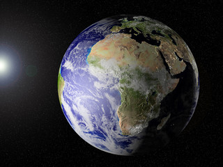 Globe of planet Earth, view on Africa. CG, elevation, lights