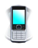 Vibrating cellphone with blank keys on white background