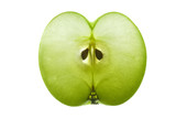 Thin sectional slice of apple showing seeds and structure poster