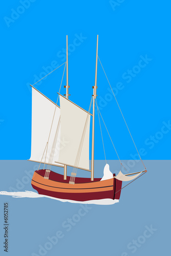 Two-mast sailing ship at sea
