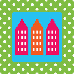 Design for a moving announcement with houses and polkadots