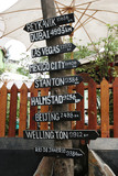 Sign with city names and distances - travel and tourism. poster