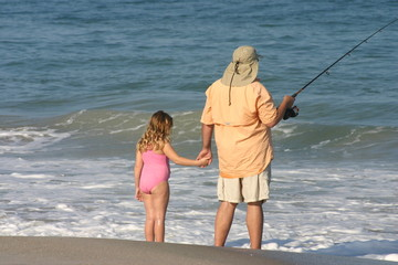 father, daughter fishing