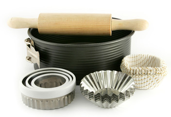 baking tin, and other equipment on white background