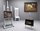 painters atelier with oil pictures poster