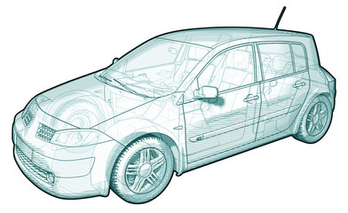 Schematic Illustration of a Car