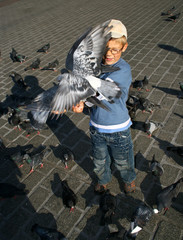 Boy is feeding the birds in Krakow, Poland