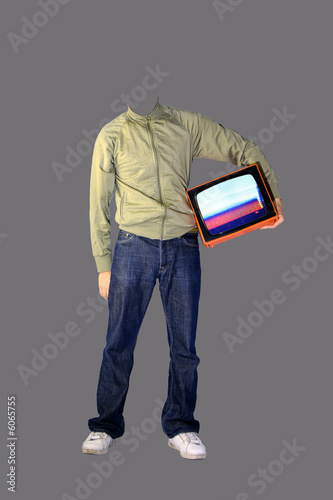 a real headless man holds tv under his arm!
