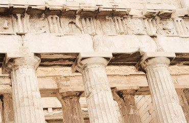 Parthenon columns and facade in Athens, Greece.