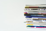 the detail of a stack of magazines