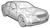 Perspective sketchy illustration of a Lexus LX460. poster