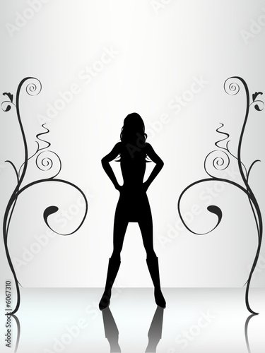 Reflected female silhouette
