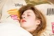 Young caucasian sleeping woman closeup.