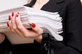 Businesswoman with heap of papers closeup. poster