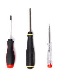 Three screwdrivers. Isolated on white.