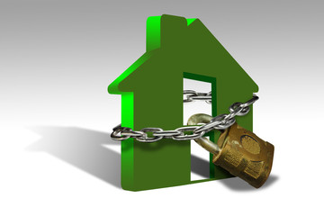 Illustration of a house with a padlock denoting security