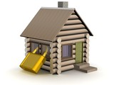 Wooden small house. The safety concept. 3D image. poster