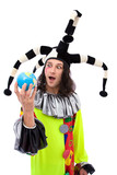 funny and surprised jester joker holding a globe poster